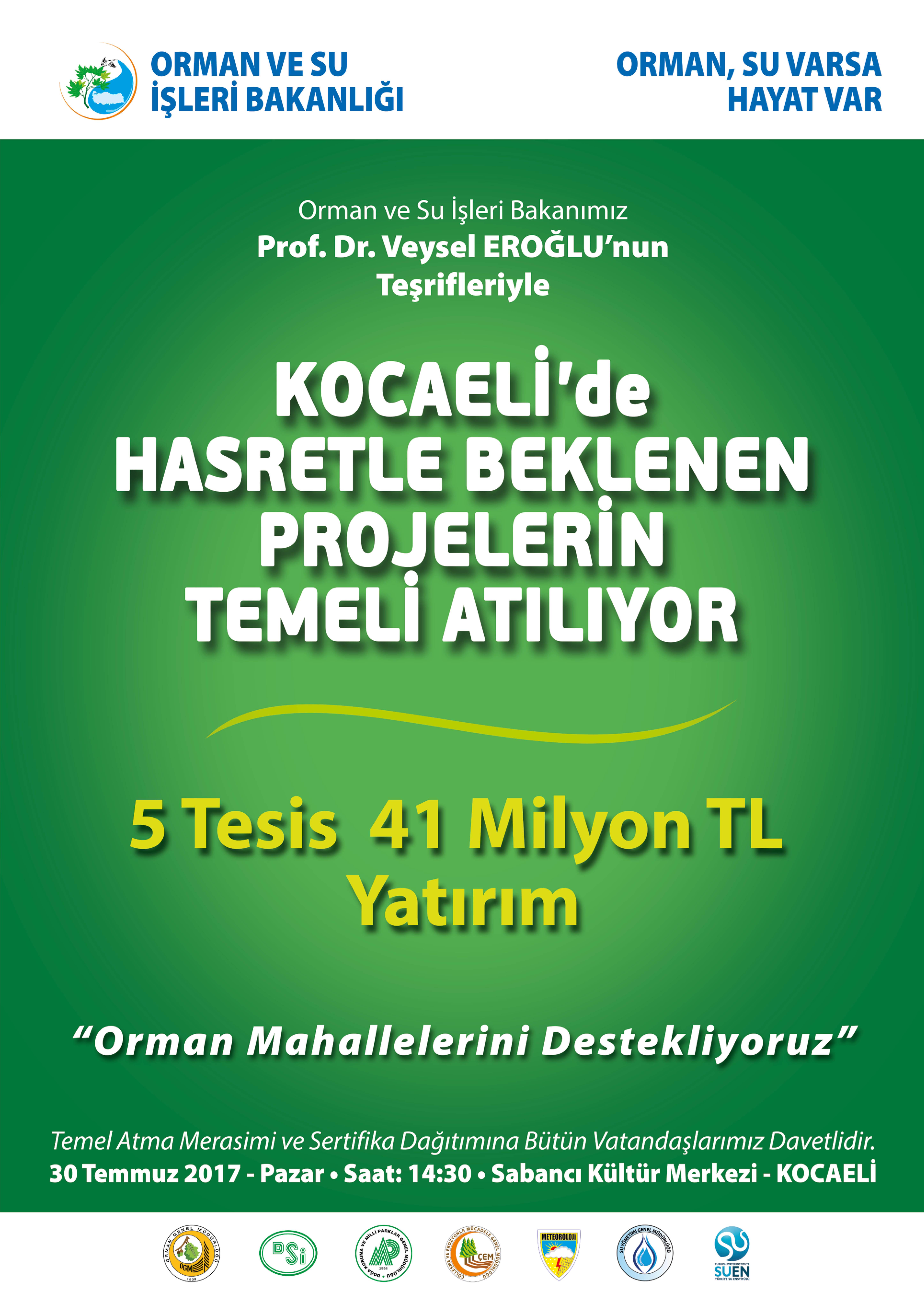 KOCAELİ'YE 5 TESİS KAZANDIRILIYOR…