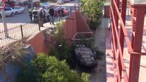 Kontrolden çıkan araç okul bahçesine uçtu