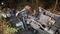 TEM'de çanta yüklü kamyon 5 metrelik şarampole uçtu:1 yaralı