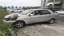 Çalıştırıldığı sırada yanan otomobili kül olmaktan itfaiye kurtardı